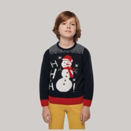 Otroški pulover z motivom snežaka